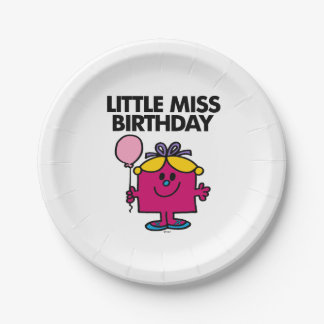 Little Miss Birthday With Pink Balloon Paper Plate
