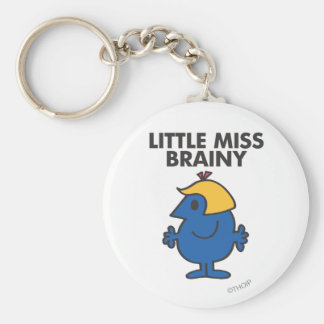 Little Miss Brainy Standing Still Basic Round Button Keychain