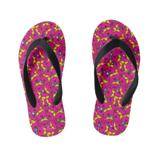 Little Miss Chatterbox | Bright Pink Pattern Kid's Flip Flops