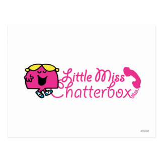 Little Miss Chatterbox | Telephone Cord Lettering Postcard