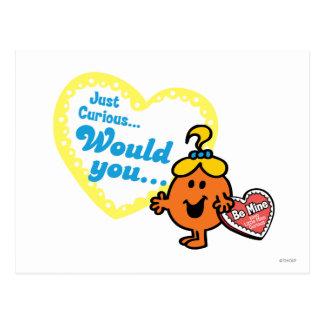 Little Miss Curious Valentine's Day Wish Postcard
