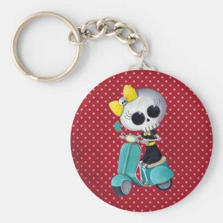 Little Miss Death on Scooter Basic Round Button Keychain
