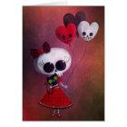 Little Miss Death Valentine Girl Card
