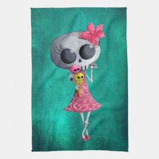 Little Miss Death with Halloween Ice Cream Towels