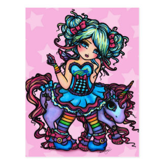 Little Miss Deelish Fairy Unicorn Princess Fantasy Postcard