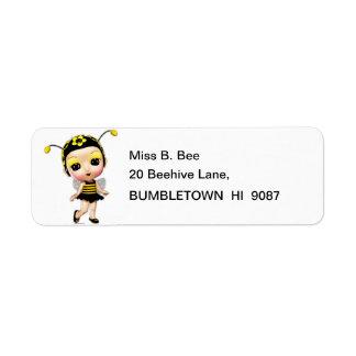Little Miss Lady Bumblebee Return Address Labels