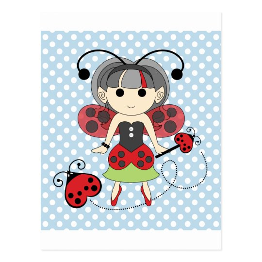 Little Miss Ladybug Fairy Princess and Bug Wand Postcard
