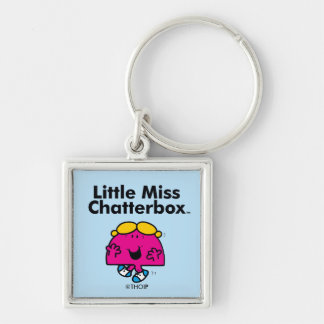 Little Miss | Little Miss Chatterbox is So Chatty Silver-Colored Square Keychain