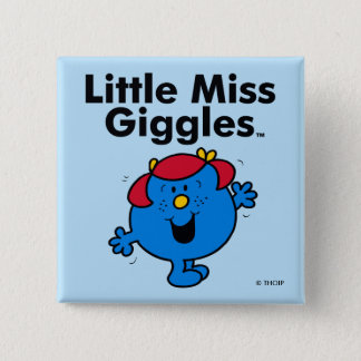Little Miss   Little Miss Giggles Likes To Laugh 2 Inch Square Button