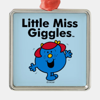 Little Miss | Little Miss Giggles Likes To Laugh Silver-Colored Square Ornament