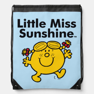 Little Miss | Little Miss Sunshine is a Ray of Sun Drawstring Bag