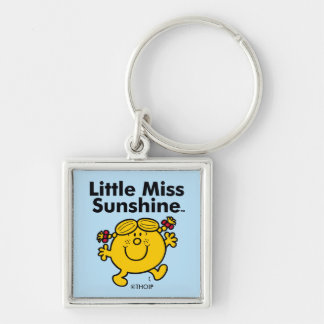Little Miss | Little Miss Sunshine is a Ray of Sun Silver-Colored Square Keychain