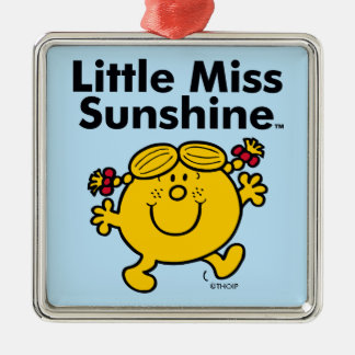 Little Miss | Little Miss Sunshine is a Ray of Sun Silver-Colored Square Ornament