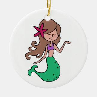 Little Miss Mermaid - Brunette Hair Ceramic Ornament