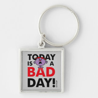 Little Miss Naughty | Today is a Bad Day Silver-Colored Square Keychain