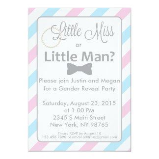 Little Miss or Little Man Gender Reveal Invitation