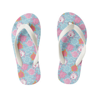 Little Miss Princess | Pretty Pink & Blue Pattern Kid's Flip Flops