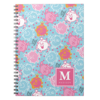 Little Miss Princess | Pretty Pink & Blue Pattern Spiral Note Book