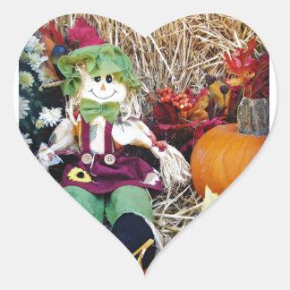 Little Miss Scarecrow Heart Sticker