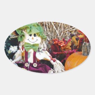 Little Miss Scarecrow Oval Sticker