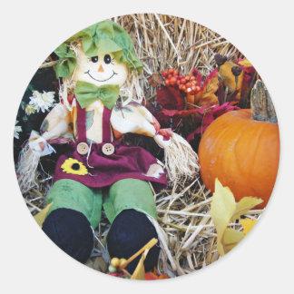 Little Miss Scarecrow Round Sticker