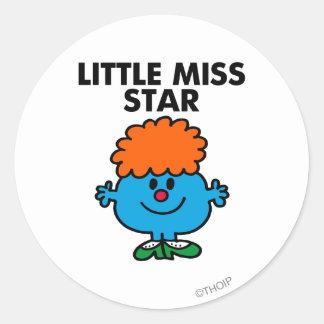 Little Miss Star | Black Lettering Classic Round Sticker