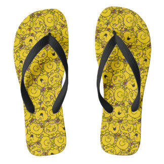 Little Miss Sunshine | Fun Yellow Smiles Pattern Flip Flops