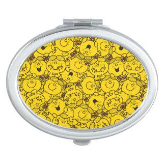 Little Miss Sunshine | Fun Yellow Smiles Pattern Travel Mirror