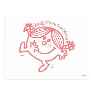 Little Miss Sunshine Line Art Coral Post Cards