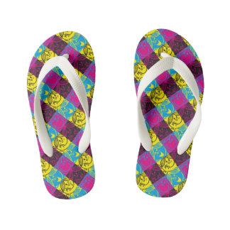 Little Miss Sunshine   Neon Pattern Kid's Flip Flops