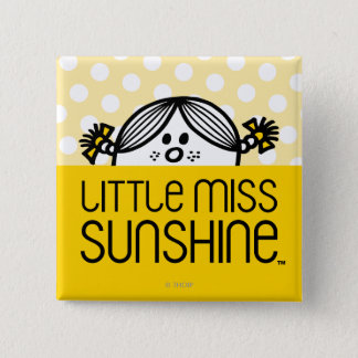 Little Miss Sunshine Peeking Over Name 2 Inch Square Button