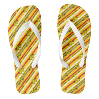 Little Miss Sunshine | Red, Yellow Stripes Pattern Flip Flops
