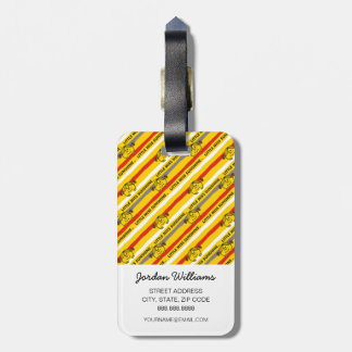 Little Miss Sunshine | Red, Yellow Stripes Pattern Luggage Tag