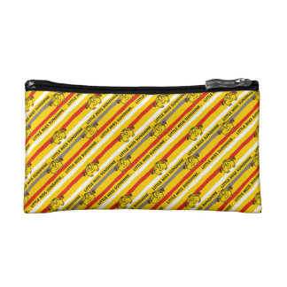 Little Miss Sunshine | Red, Yellow Stripes Pattern Makeup Bag