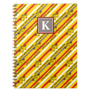 Little Miss Sunshine   Red, Yellow Stripes Pattern Notebooks