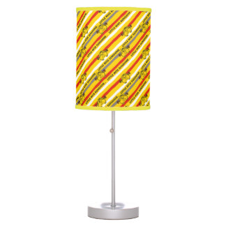Little Miss Sunshine | Red, Yellow Stripes Pattern Table Lamp