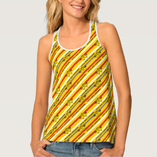 Little Miss Sunshine | Red, Yellow Stripes Pattern Tank Top