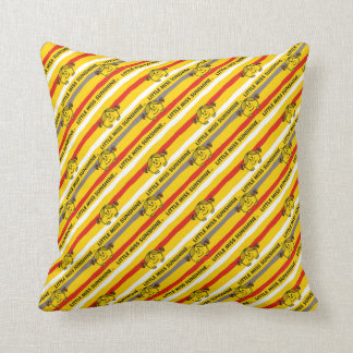Little Miss Sunshine | Red, Yellow Stripes Pattern Throw Pillow