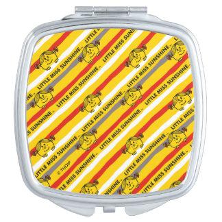 Little Miss Sunshine | Red, Yellow Stripes Pattern Vanity Mirror