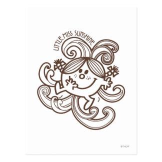 Little Miss Sunshine Swirls Monochrome Postcard