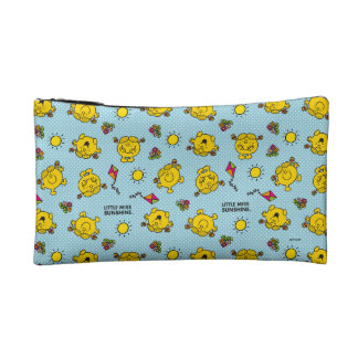 Little Miss Sunshine | Teal Polka Dot Pattern Cosmetic Bag