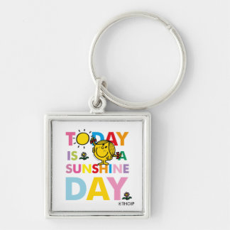 Little Miss Sunshine | Today is a Sunshine Day Silver-Colored Square Keychain