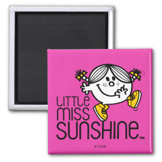 Little Miss Sunshine Walking On Name Graphic Square Magnet