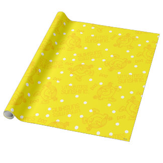 Little Miss Sunshine Yellow And Polka Dot Pattern Wrapping Paper