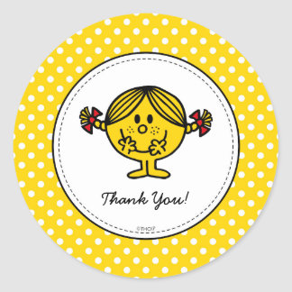 Little Miss Sunshine | Yellow Birthday Thank You Classic Round Sticker