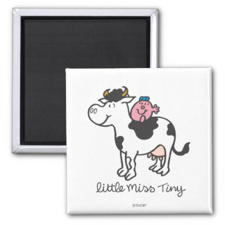 Little Miss Tiny | Cow Riding Square Magnet