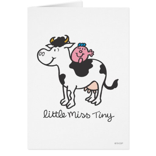 Little Miss Tiny Perches Atop Cow Cards