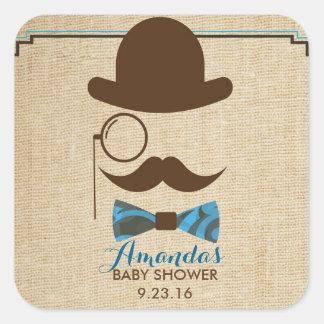 Little Mister Moustache Baby shower favor stickers