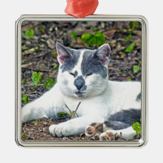 Little Mister Pants Silver-Colored Square Ornament