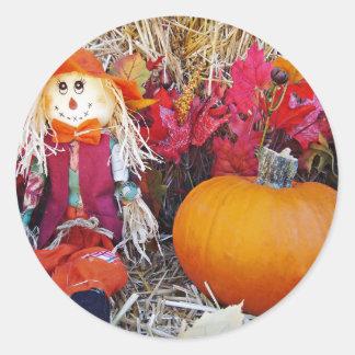 Little Mister Scarecrow Round Sticker